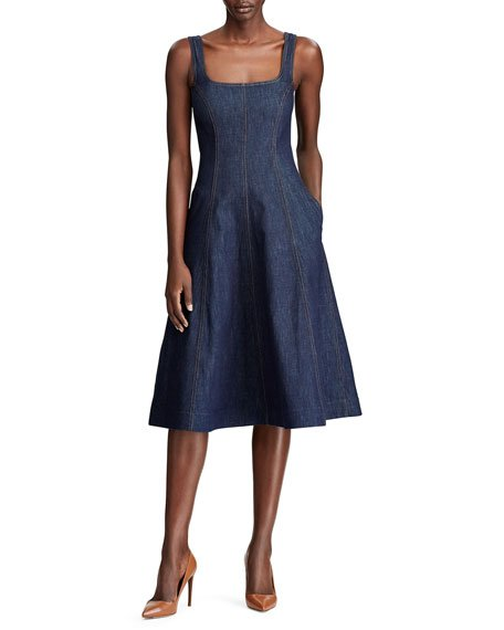 Kory Denim Fit & Flare Dress