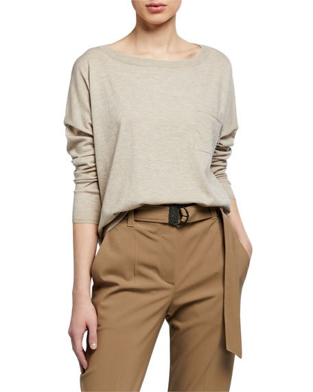 Cashmere Metallic Boat-Neck Sweater