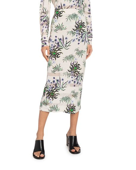 Printed Mesh Midi Skirt