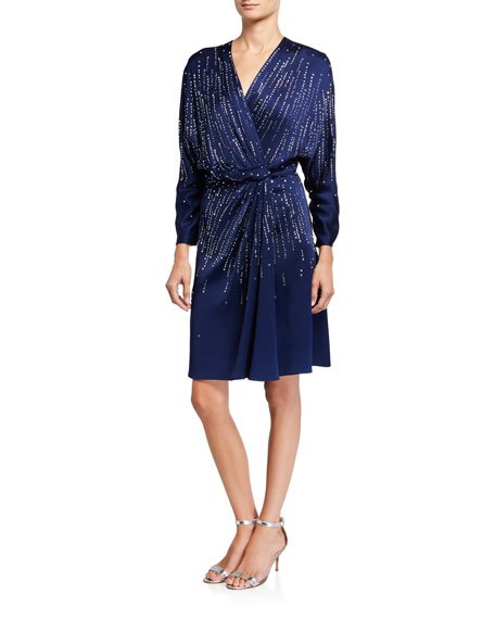 V-Neck Long-Sleeve A-Line Dress with Sequins