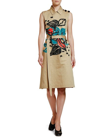 Sleeveless Printed Trench Dress
