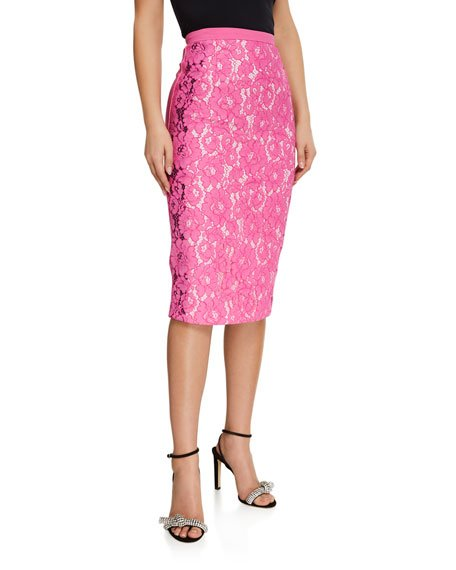 Lace-Front Pencil Skirt