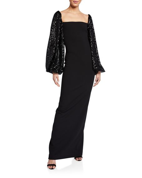 Greta Square-Neck Maxi Dress w/ Sequined Sleeves