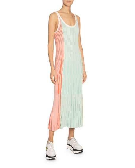 Sleeveless Stripe Knit Midi Dress