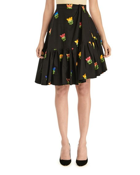 Floral-Embroidered Side-Drape Flounce Skirt