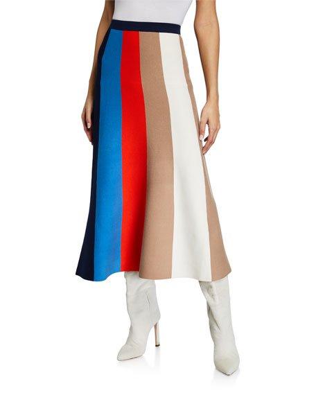 Block Stripe A-Line Skirt