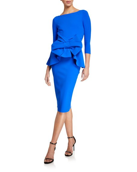 High-Neck 3/4-Sleeve Peplum Dress w/ Bow Detail