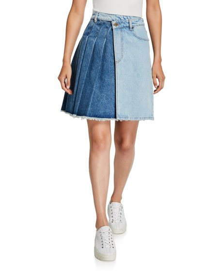 Maru Two-Tone Pleated Denim Kilt Skirt