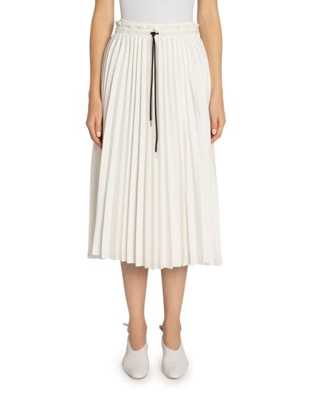 Pleated Georgette Drawstring Midi Skirt