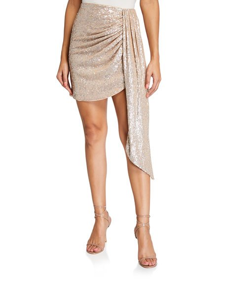 Sequined Draped-Front Mini Skirt