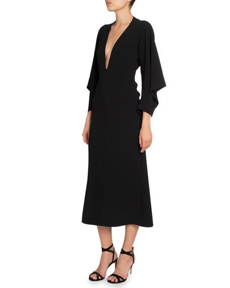 Crepe Deep-V Draped-Sleeve Dress