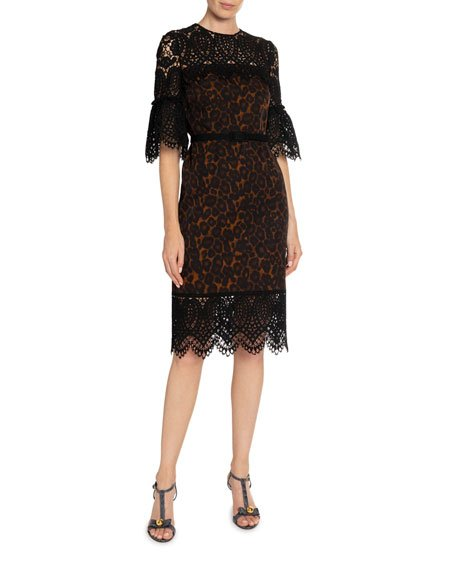 Kiya Leopard-Print Lace-Illusion Sheath Dress