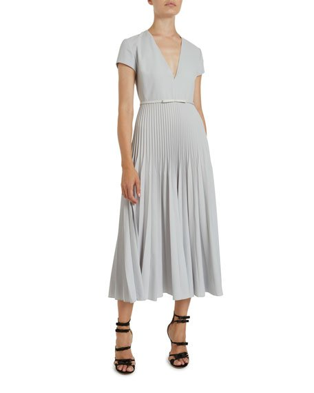 Pleated Wool Crepe Midi Dress