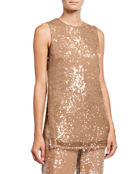 Sequined Jersey Shift Tank, Camel