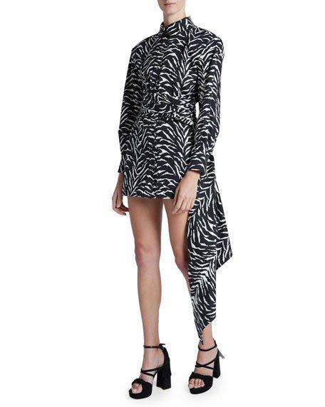 Mini Zebra-Striped Silk Sash Skirt