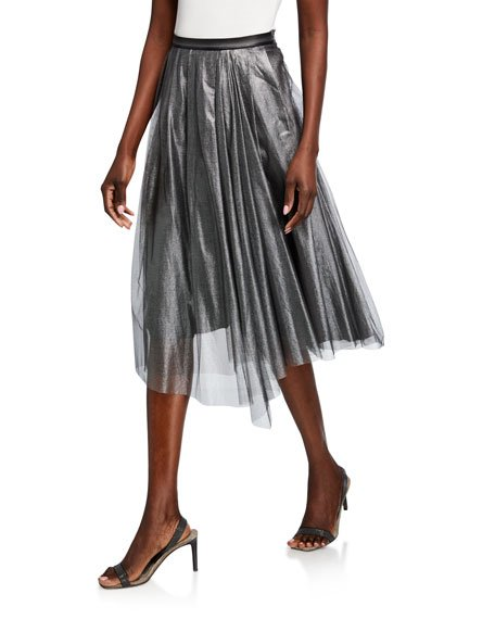 Metallic Tulle Pleated Midi Skirt