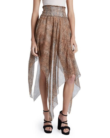 Leopard Print Asymmetric Knotted Skirt
