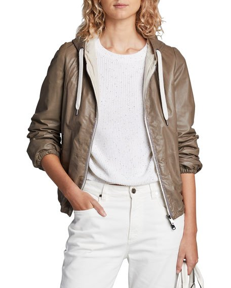 Reversible Leather Hoodie Jacket