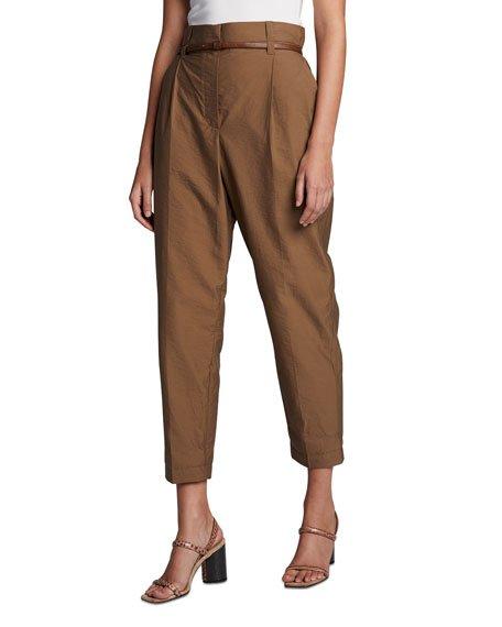 Belted Tech-Poplin Pants