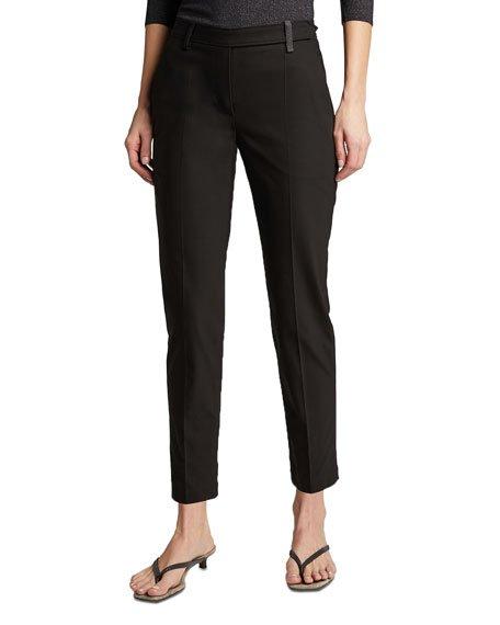 Monili-Belted Cotton Straight-Leg Pants