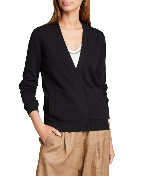 V-Neck Button-Front Basic Cashmere Cardigan