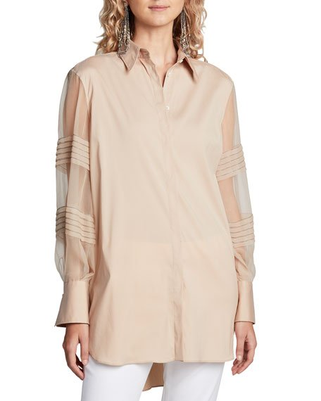 Monili-Beaded Organza Sleeve Poplin Shirt, Brown