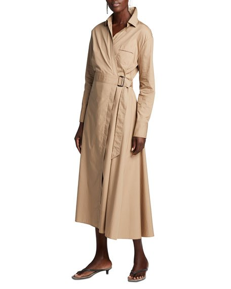 Belted Lightweight-Cotton Shirtdress