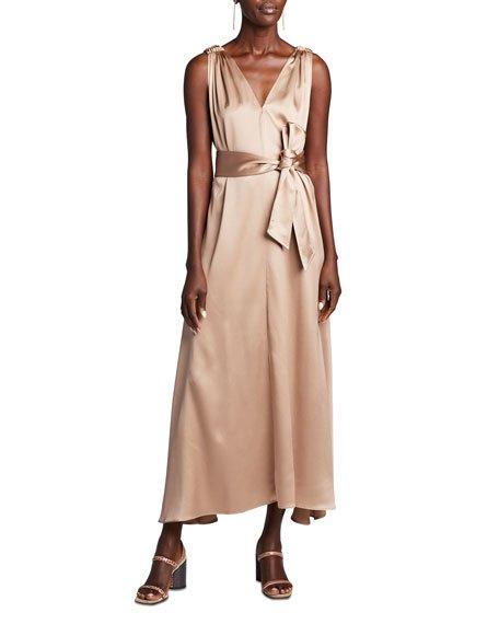 Satin Double-V Dress w/ Sash