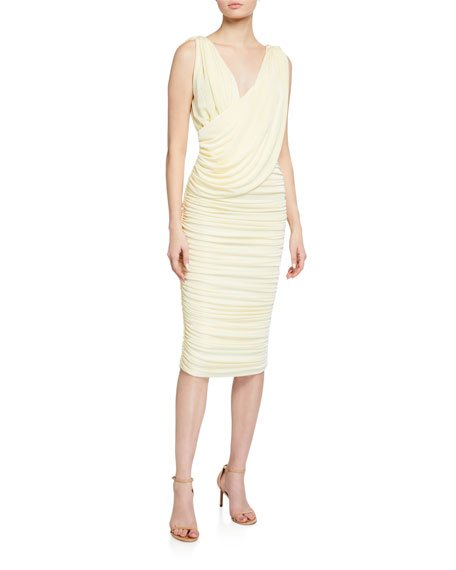Laney V-Neck Shirred Jersey Dress