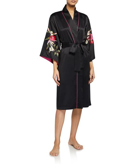 Seville Embroidered Satin Robe