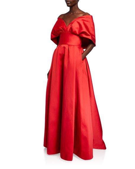 Taffeta Off-the-Shoulder Portrait Collar Gown
