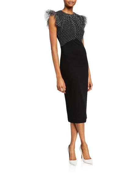 Ruched Polka-Dot Lace Stretch Ponte Dress