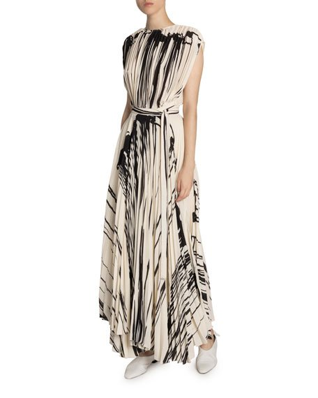 Two-Tone Pleated Wrap Dress