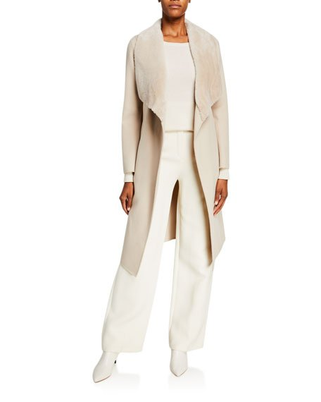 Sybil Shearling Shawl-Collar Wool Wrap Coat