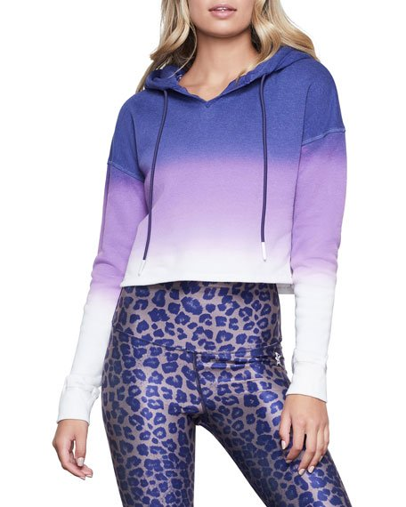 Ombre Cropped Hoodie Sweatshirt - Inclusive Sizing