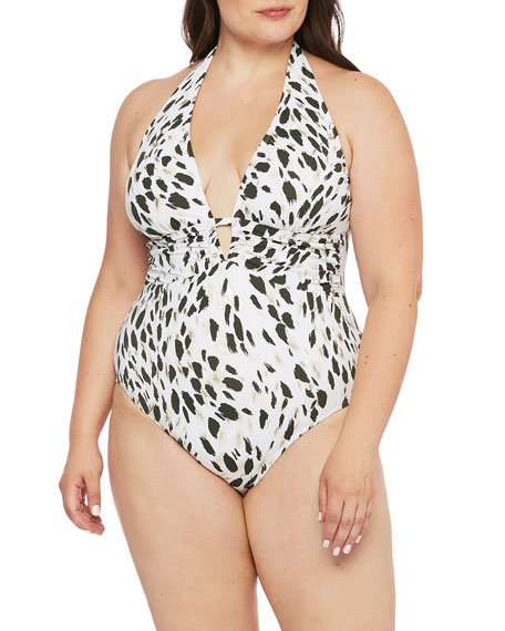 Plus Size Printed Plunging Halter One-Piece Swimsuit