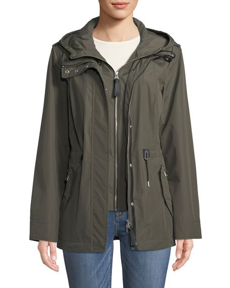 Melita Hooded Rain Jacket w/ Covered Placket