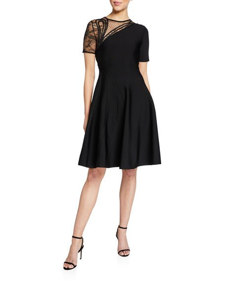Lace-Inset Cap-Sleeve Mini Dress
