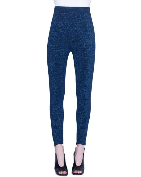 Metallic Wool Stirrup Pants