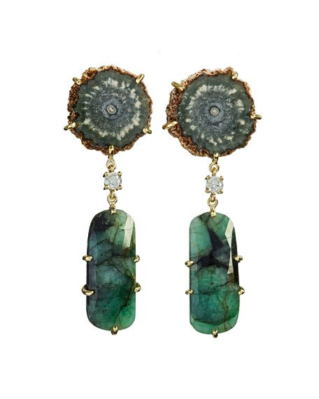 18k Bespoke 2-Tier Tribal Luxury Earrings w/ Brown Stalactite, Faceted Emerald & Diamond