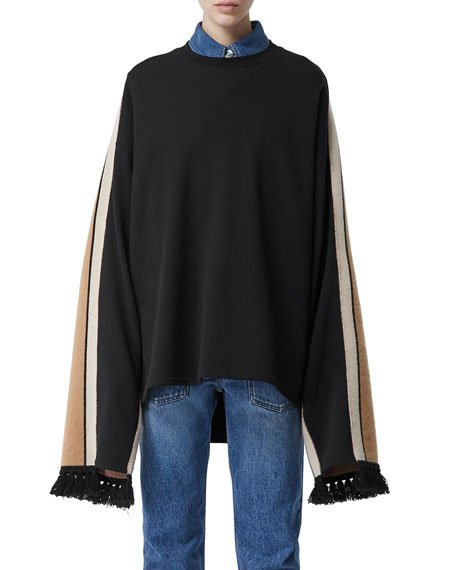 Otoko Cotton Sweatshirt with Cashmere-Scarf Back