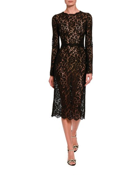Classic Sheer Lace Long-Sleeve Midi Dress