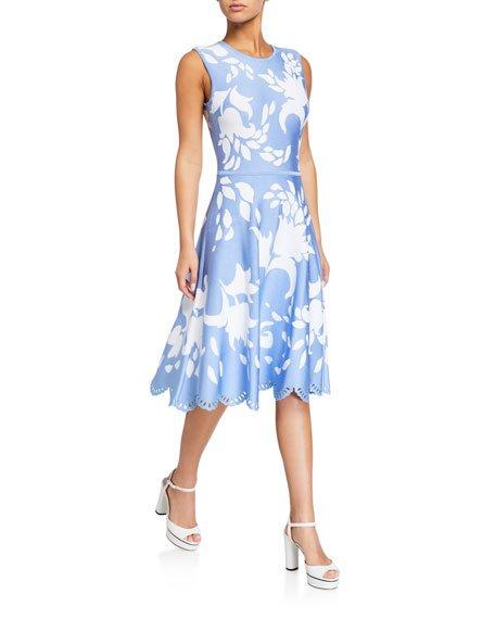Floral Jacquard Eyelet-Hem Dress