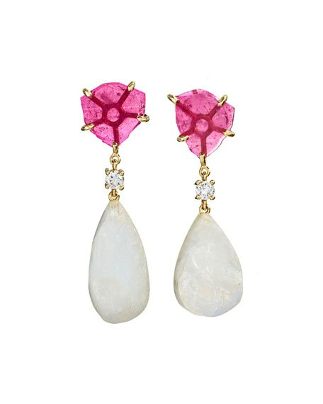 18k Bespoke 2-Tier Tribal Luxury Earrings w/ Pink Tourmaline, Rainbow Moonstones & Diamonds