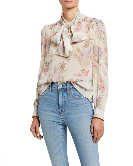 Lois Floral Tie-Neck Long-Sleeve Silk Top