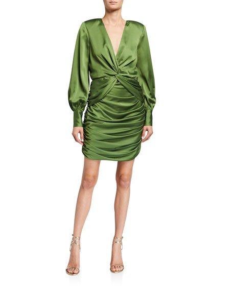 Lyla Twist-Front Shirred Mini Satin Dress