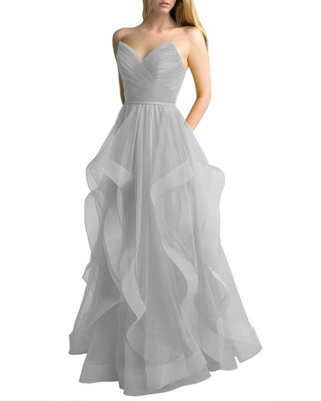 Corseted Tulle A-Line Gown with Cascading Skirt