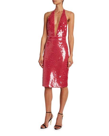 Deep-V Halter Dress