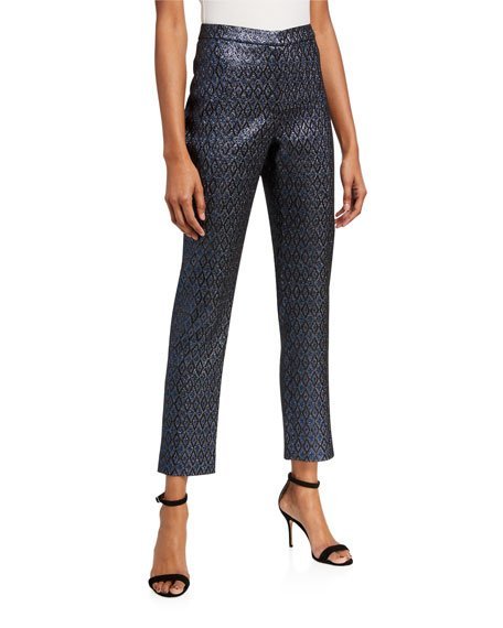 Metallic Jacquard Dress Pants