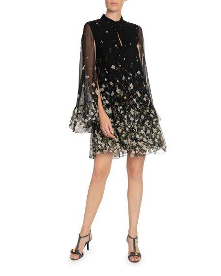 Concetta Silk Cape Dress